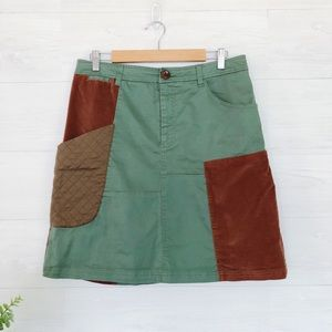 Anthro, Meadow Rue Green Brown Mini Skirt #695